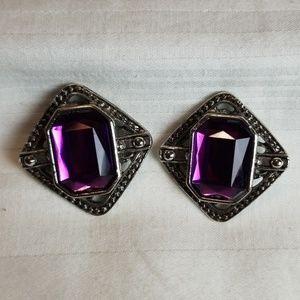 Silver Tone Purple Jewel Earrings